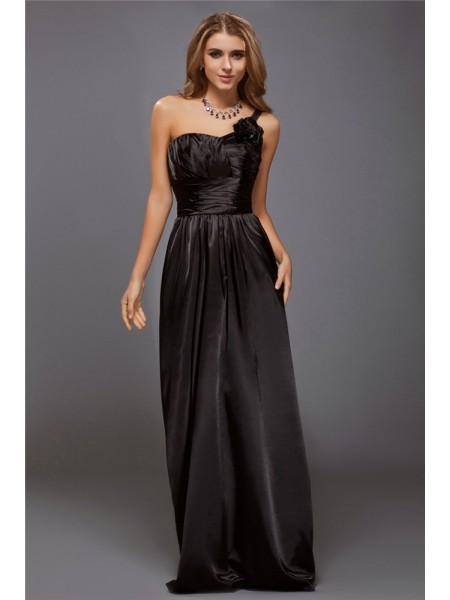 Sheath/Column One-Shoulder Ruffles Long Satin Bridesmaid Dress