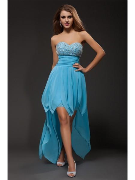 b9e17daadc18e A-Line Princess Sweetheart Beading Sleeveless High Low Chiffon Cocktail  Dresses