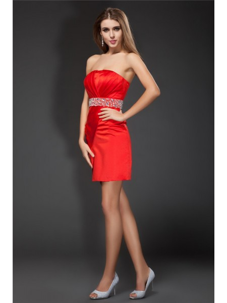 Sheath/Column Strapless Short Satin Cocktail Dress