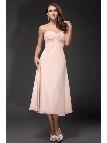 Sheath/Column Sweetheart Ruffles Tea Length Chiffon Bridesmaid Dress