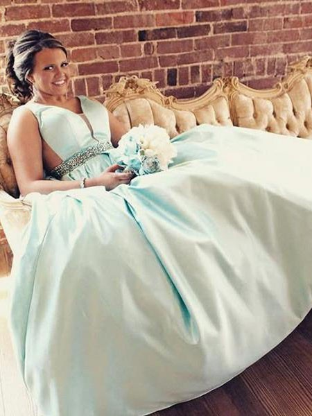 A-Line/Princess Straps Crystal Sweep/Brush Train Satin Plus Size Dress