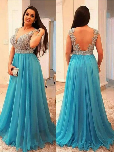 A-Line/Princess V-neck Beading Sweep/Brush Train Chiffon Plus Size Dress