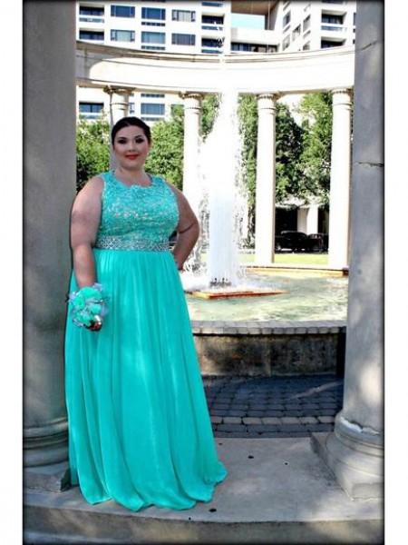 A-Line/Princess Scoop Applique Floor-Length Chiffon Plus Size Dress
