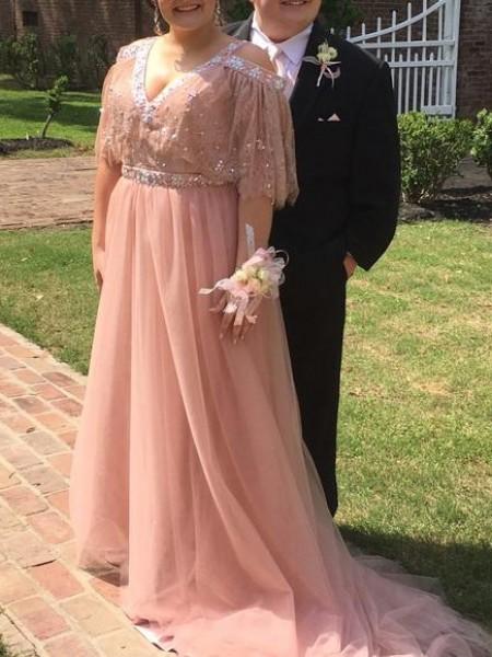A-Line/Princess V-neck Beading Court Train Tulle Plus Size Dress