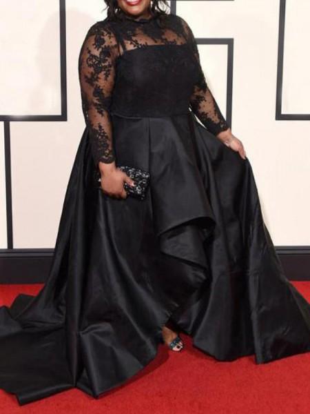 A-Line/Princess Sheer Neck Applique Asymmetrical Satin Plus Size Dress
