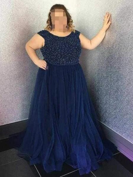 A-Line/Princess Scoop Beading Floor-Length Tulle Plus Size Dress