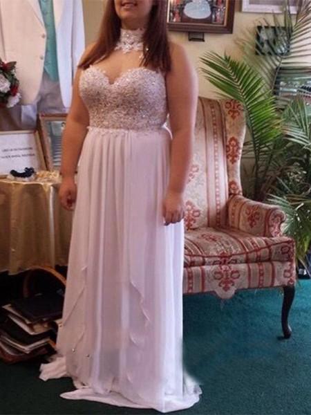 A-Line/Princess Sweetheart Beading Floor-Length Chiffon Plus Size Dress