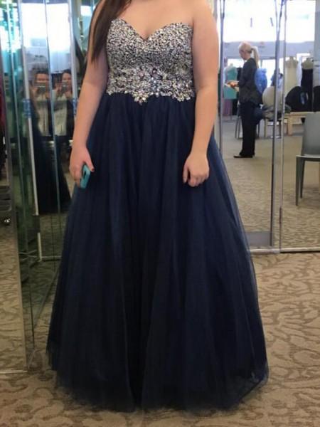 A-Line/Princess Sweetheart Beading Floor-Length Tulle Plus Size Dress