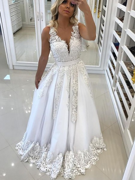 A-Line/Princess V-Neck Sleeveless Floor-Length Lace Tulle Dresses