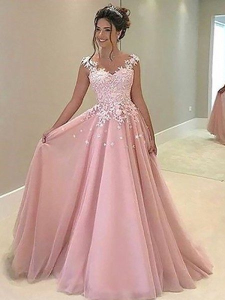 09d59ae5ec3 A-Line/Princess Sweetheart Floor-Length Applique Tulle Dress