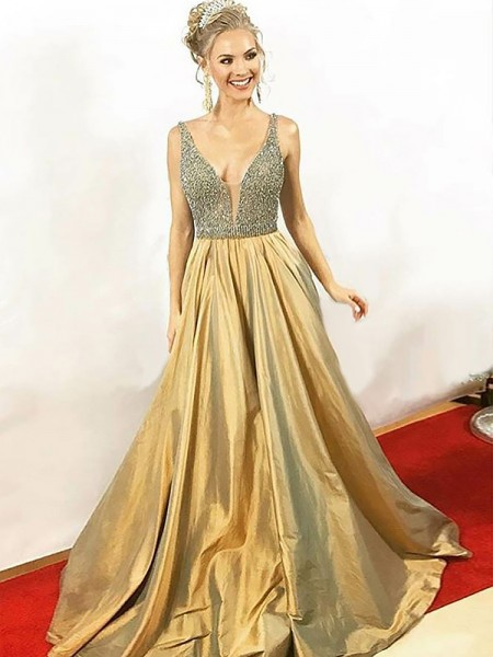 A-Line/Princess V-neck Floor-Length Beading Satin Dress