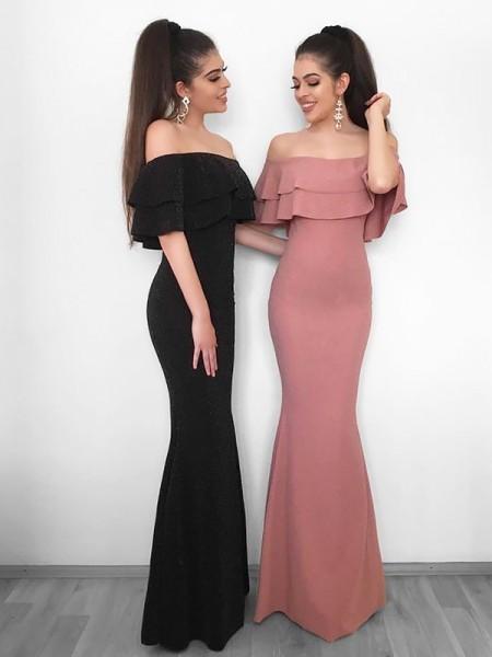 Sheath/Column Off-the-Shoulder Floor-Length Ruffles Chiffon Dress