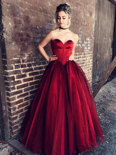 Ball Gown Sweetheart Floor-Length With Ruffles Tulle Dress