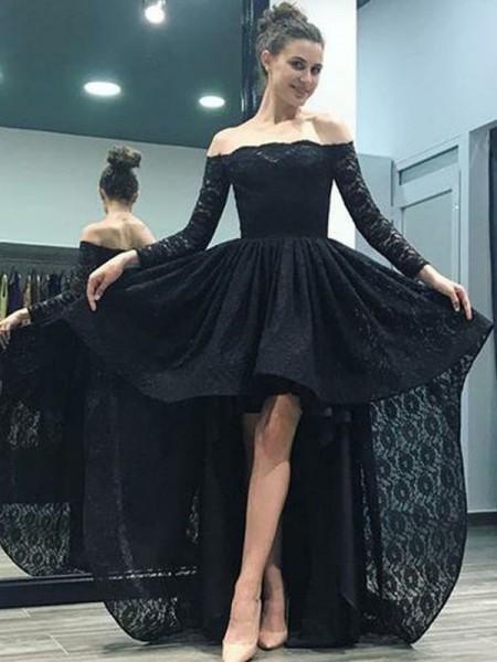 A-Line/Princess Long Sleeves Sweep/Brush Train Asymmetrical Lace Dress