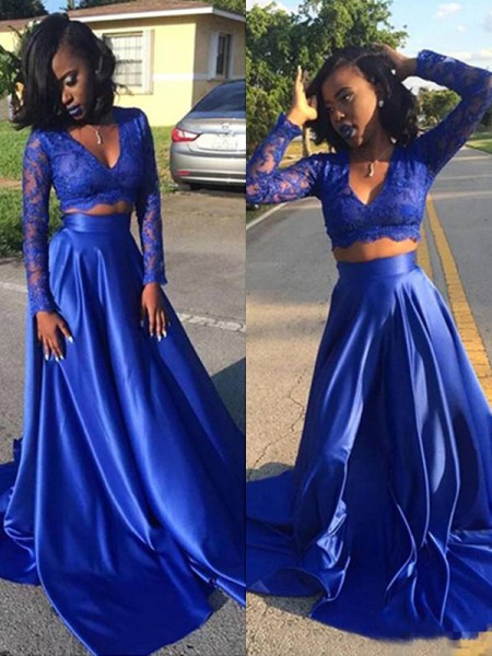 A-Line/Princess V-neck Long Sleeves Sweep/Brush Train Lace Satin Two Piece Dress