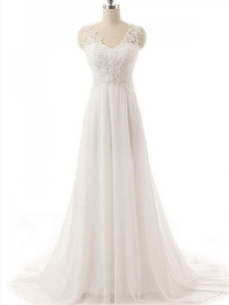 A-Line/Princess V-neck Sleeveless Lace Chiffon Wedding Dress