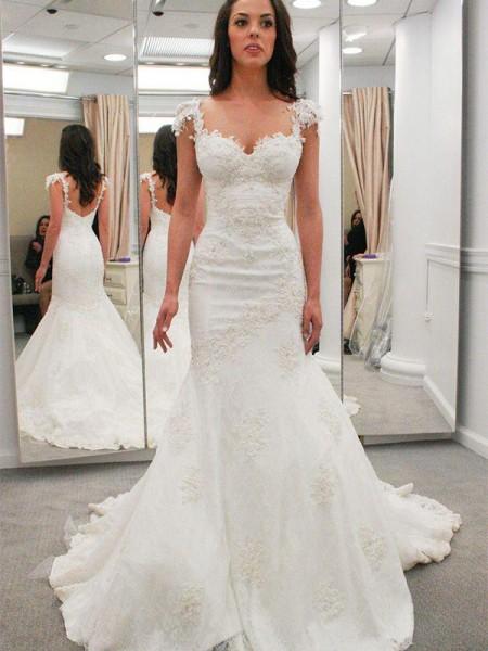 Trumpet/Mermaid Short Sleeves Applique Chapel Train Lace Wedding Dress