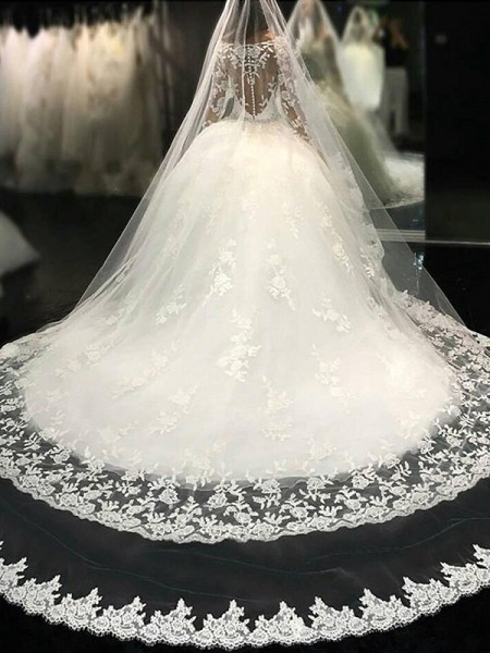 Ball Gown Scoop Long Sleeves Lace Cathedral Train Applique Tulle Wedding Dress