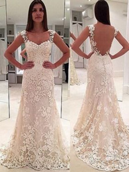 Sheath/Column Straps Sleeveless Court Train Applique Lace Wedding Dress