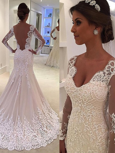 7bb32c81405a84 Trumpet/Mermaid Long Sleeves V-neck Court Train Lace Wedding Dress