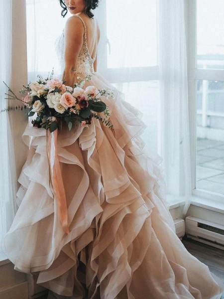 A-Line/Princess Sleeveless Ruffles Lace Organza Wedding Dress
