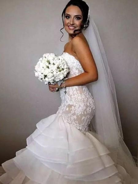 Trumpet/Mermaid Sleeveless Chapel Train Ruffles Applique Lace Organza Wedding Dress
