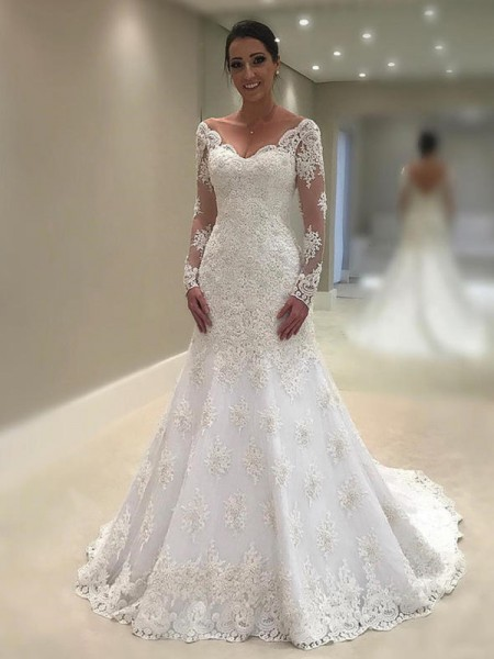 Trumpet/Mermaid Long Sleeves V-neck Court Train Applique Lace Wedding Dress