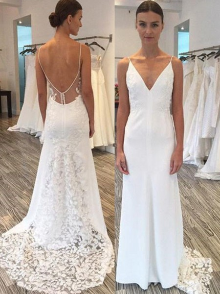 Sheath/Column Satin Lace Spaghetti Straps Sleeveless Sweep/Brush Train Wedding Dress
