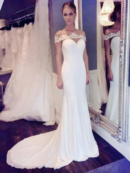 Trumpet/Mermaid Chiffon Scoop Lace Sleeveless Court Train Wedding Dress