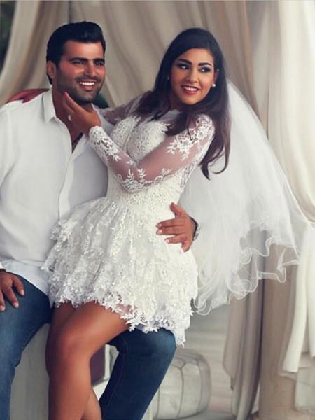 A-Line/Princess Scoop Lace Long Sleeves Short/Mini Wedding Dress
