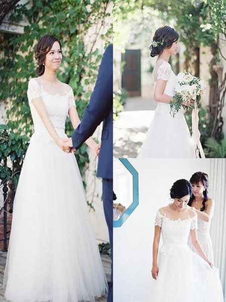 A-Line/Princess Tulle Lace Short Sleeves Sweep/Brush Train Wedding Dress