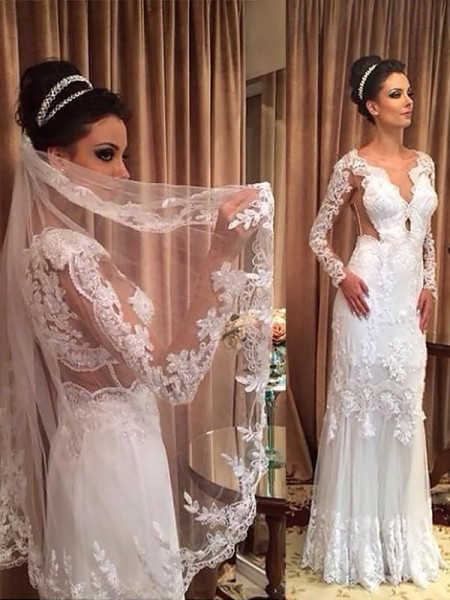 Sheath/Column V-neck Tulle Long Sleeves Sweep/Brush Train Wedding Dress