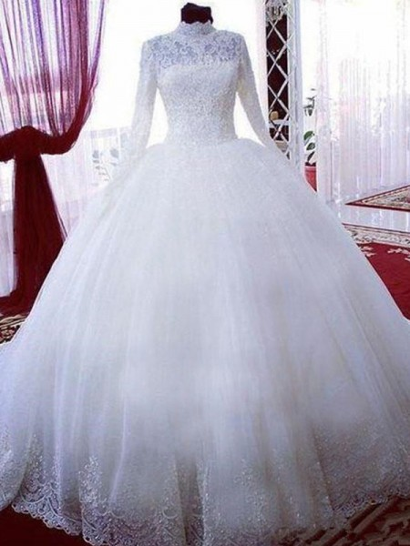 Ball Gown Lace Tulle Long Sleeves Chapel Train Wedding Dress
