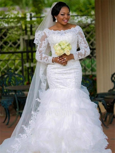 d9708145870 Trumpet Mermaid Square Organza Long Sleeves Chapel Train Wedding Dress