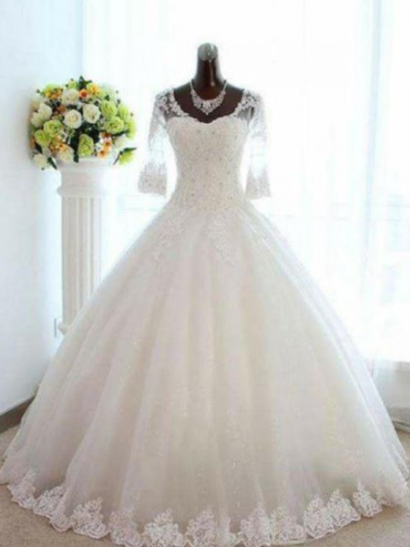 Ball Gown V-neck Beading Tulle 3/4 Sleeves Bateau Floor-Length Wedding Dress
