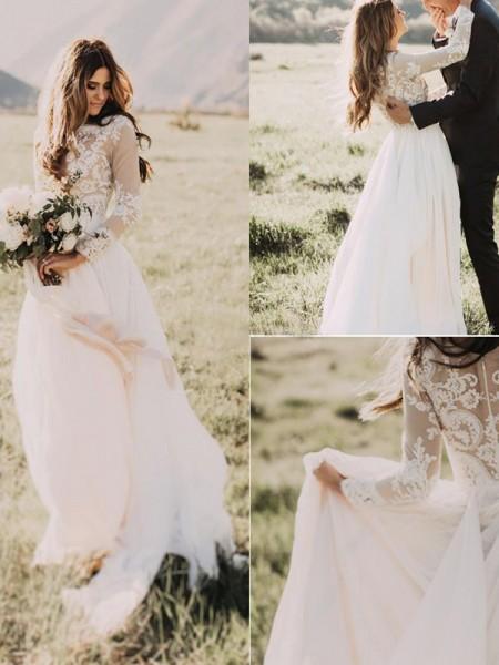 A-Line/Princess Tulle Scoop Long Sleeves Floor-Length Wedding Dress