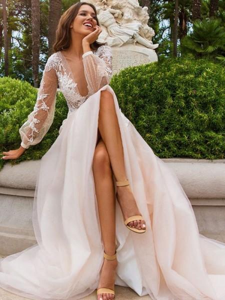 A-Line/Princess Long Sleeves Tulle V-neck Sweep/Brush Train Wedding Dress