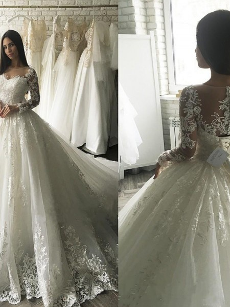 Ball Gown Tulle Scoop Long Sleeves Court Train Wedding Dress