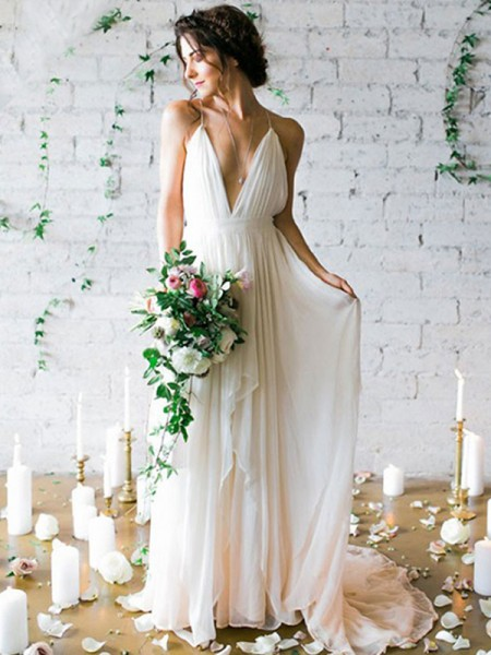 A-Line/Princess Chiffon Sleeveless Spaghetti Straps Sweep/Brush Train Wedding Dress