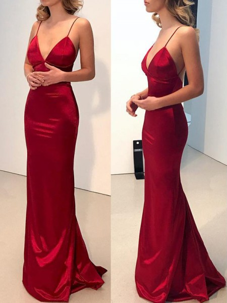 Sheath/Column Sweep/Brush Train Spaghetti Straps V-neck Silk like Satin Dresses