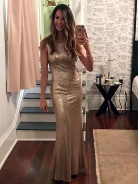 Sheath/Column Sleeveless Bateau Floor-Length Sequins Dresses