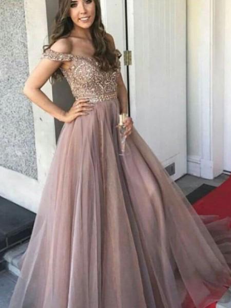 A-Line/Princess Sleeveless Off-the-Shoulder Floor-Length Tulle Dresses