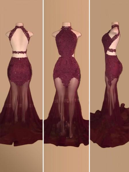 Trumpet/Mermaid Sleeveless Court Train Tulle Applique Dresses