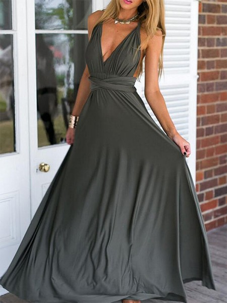 Empire Sleeveless Floor-Length V-neck Chiffon Ruffles Dresses