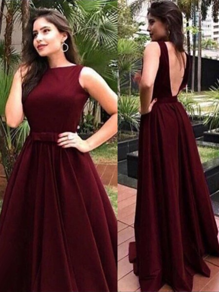 A-Line/Princess Sleeveless Floor-Length Sash/Ribbon/Belt Bateau Velvet Dresses