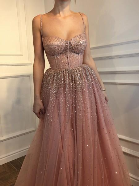 A-Line/Princess Sleeveless Floor-Length Spaghetti Straps Tulle Dresses
