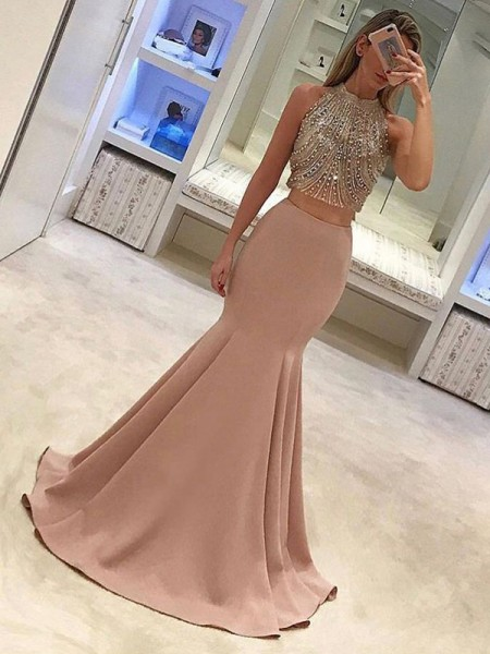 Trumpet/Mermaid Sleeveless Sweep/Brush Train High Neck Satin Two Piece Dresses