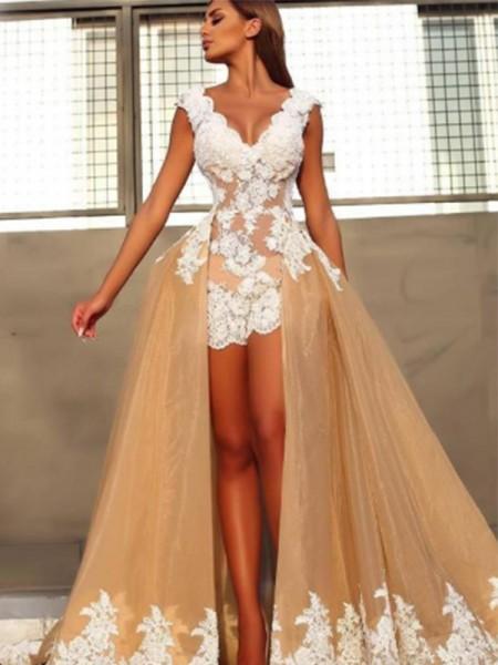 A-Line/Princess Sleeveless V-neck Sweep/Brush Train Lace Organza Dresses
