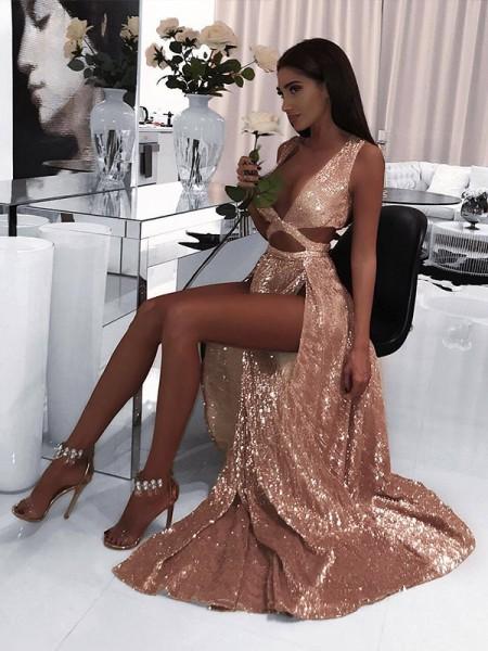 A-Line/Princess Sleeveless V-neck Floor-Length Ruffles Sequins Dresses