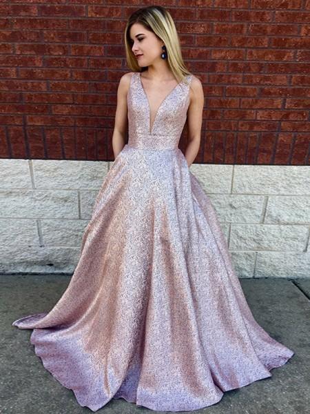 A-Line/Princess Sleeveless Sweep/Brush Train V-neck Sequin Lace Dresses